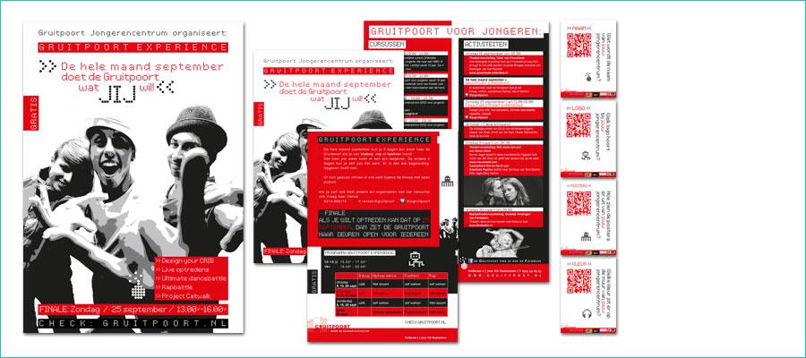 <p></p> <p>Posters en flyers in diverse formaten, twee kleuren.</p> <p>In opdracht van de Gruitpoort, Doetinchem</p>