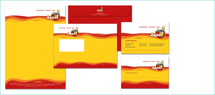 <p></p> <p>Huisstijl voor Antoons Horeca b.v.</p> <p>Briefpapier, A4, fc, enkelzijdig.</p> <p>Enveloppe, C5 met venster, fc, dubbelzijdig.</p> <p>Visitekaartje, 85x55mm, fc, dubbelzijdig.</p>