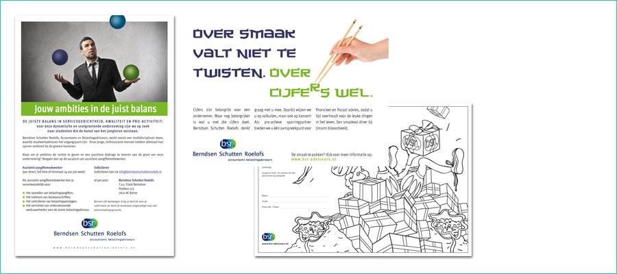 <p></p> <p>Advertenties en thema-kleurplaat.</p> <p>In opdracht van BSR accountants en belastingadviseurs</p>