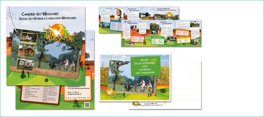 <p></p> <p>3-luik brochure, 21x21 cm, full colour.</p> <p>Rechtsonder een 'ansichtkaart' gevuld met bloemenzaad, 148 mm x 105 mm</p> <p>In opdracht van vakantiepark het Wieskamp, Winterswijk</p>