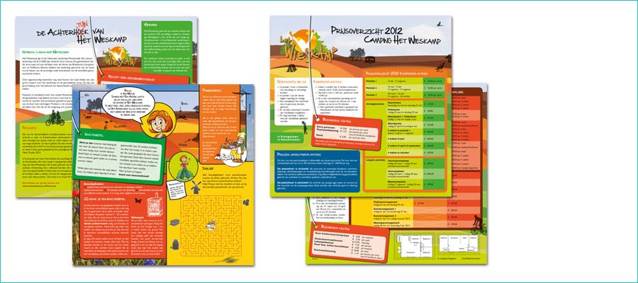 <p></p> <p>2 leaflets, dubbelzijdig bedrukt, 21x21 cm, full colour.</p> <p>In opdracht van vakantiepark het Wieskamp, Winterswijk</p>