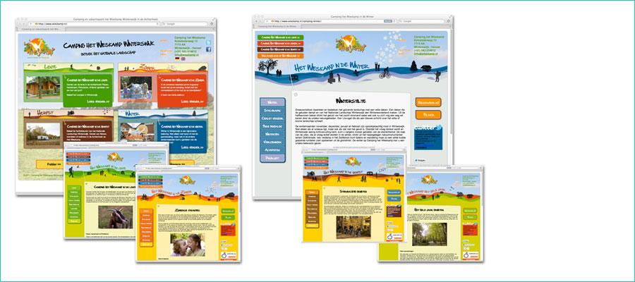 <p></p> <p>Website ontwerp voor Vakantiepark het Wieskamp.</p> <p>Homepagina is zo opgebouwd dat je per jaargetijde de informatie kunt opvragen, ieder jaargetijde heeft zijn eigen uitstraling gekregen.</p>